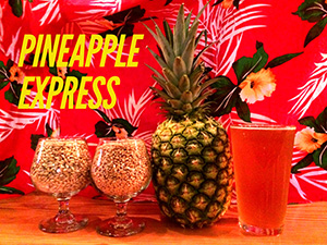 Pinapple Express Image with a pineapple, a beer and bright floral background