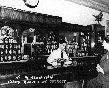 The Rainbow Inn Bar Image with Bartender and Guest from years ago