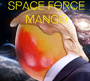 Space Force Mango Art Mango with a wig and suit with galaxies in the background
