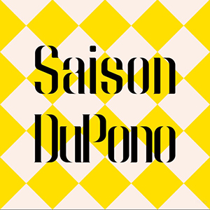 White and yellow checkered background with the words Saison DuPono written in black